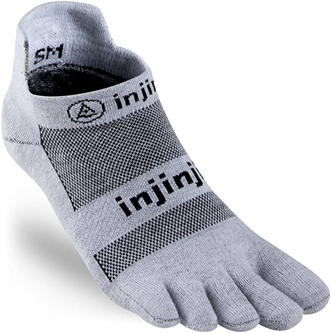 """Image of a sock with fingerholes, gray in color with words """"injinji"""" on it."""