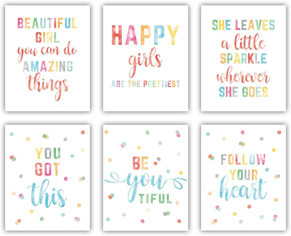 "Watercolor Inspirational quote Canvas Art Print, Colorful Ploka Dots Saying Canvas Wall Art Set Of 6(8""X10"", Unframed), Motivational Word Wall Poster For Girl' s Bedroom,Playroom,Nursery Decor"