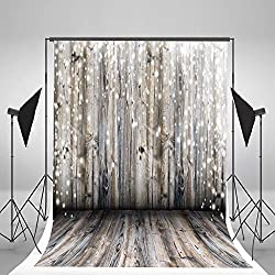 5x7ft Light Grey Wood Wall Photography Backdrop Gray Wooden Floor Photo Backgrounds for Christmas CCJ02424