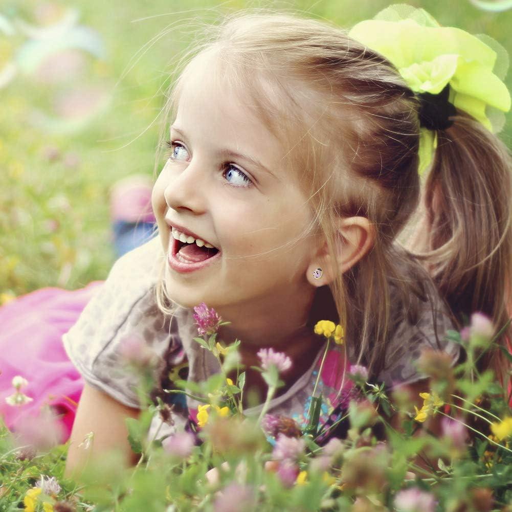 14k Yellow Gold Enamel Ladybug Safety Screw Back Earrings Girls Children