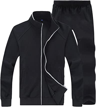 Sun Lorence Mens Full Zip Tracksuit Set Casual Jogger Sport Jacket /& Pants Sweatsuit