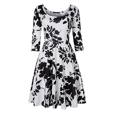 35533c4c9d Ulanda Elegant Floral Dresses Women 3/4 Sleeve Round Neck Summer Casual A  Line Flared