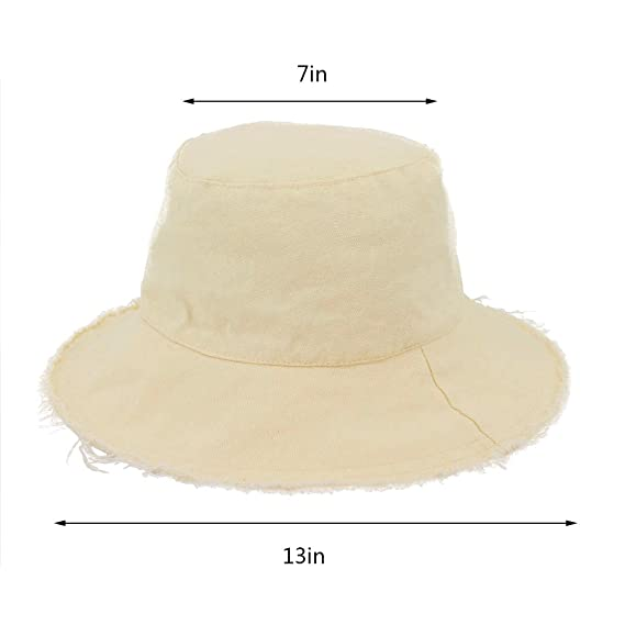 ae676cfc7 Surkat Unisex Frayed Washed Bucket Hat Foldable Cotton Fisherman Cap Brim  Visors Sun Hat