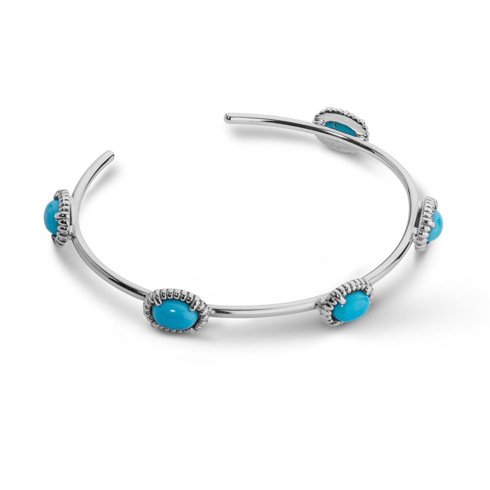 JEN Sterling Silver & Turquoise Five Stone Cuff Bracelet