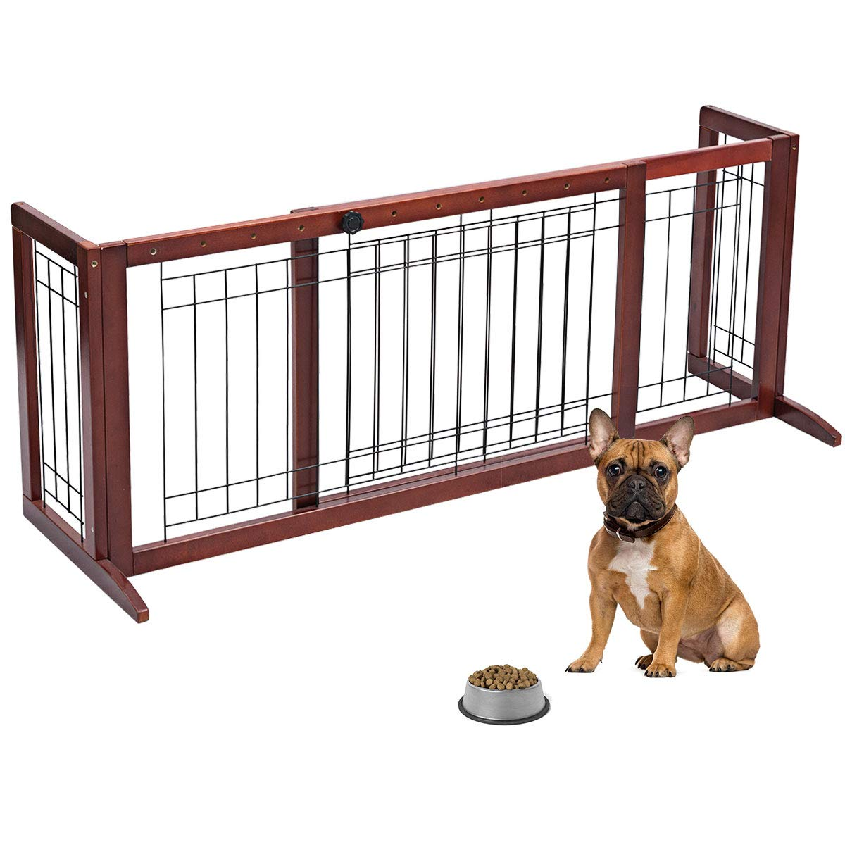 Giantex 39.5'' - 71'' Adjustable Freestanding Pet Gate, Step Over Fence for Small to Medium Sized Pets Dogs Baby, for House Doorway Stairs Extra Wide Pet Safety Fence by Giantex