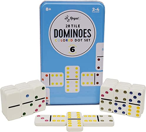 Regal Games Double 6 Colored Dot Dominoes with Reusable Collectors Tin
