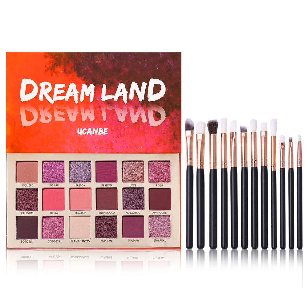 Pro 18 Shimmer & Matte Pigmented Eyeshadow Palette Glitter Pigmented Eye Shadow Makeup Pallet with 12pcs Pro Brushes Full Mirror Makeup Set