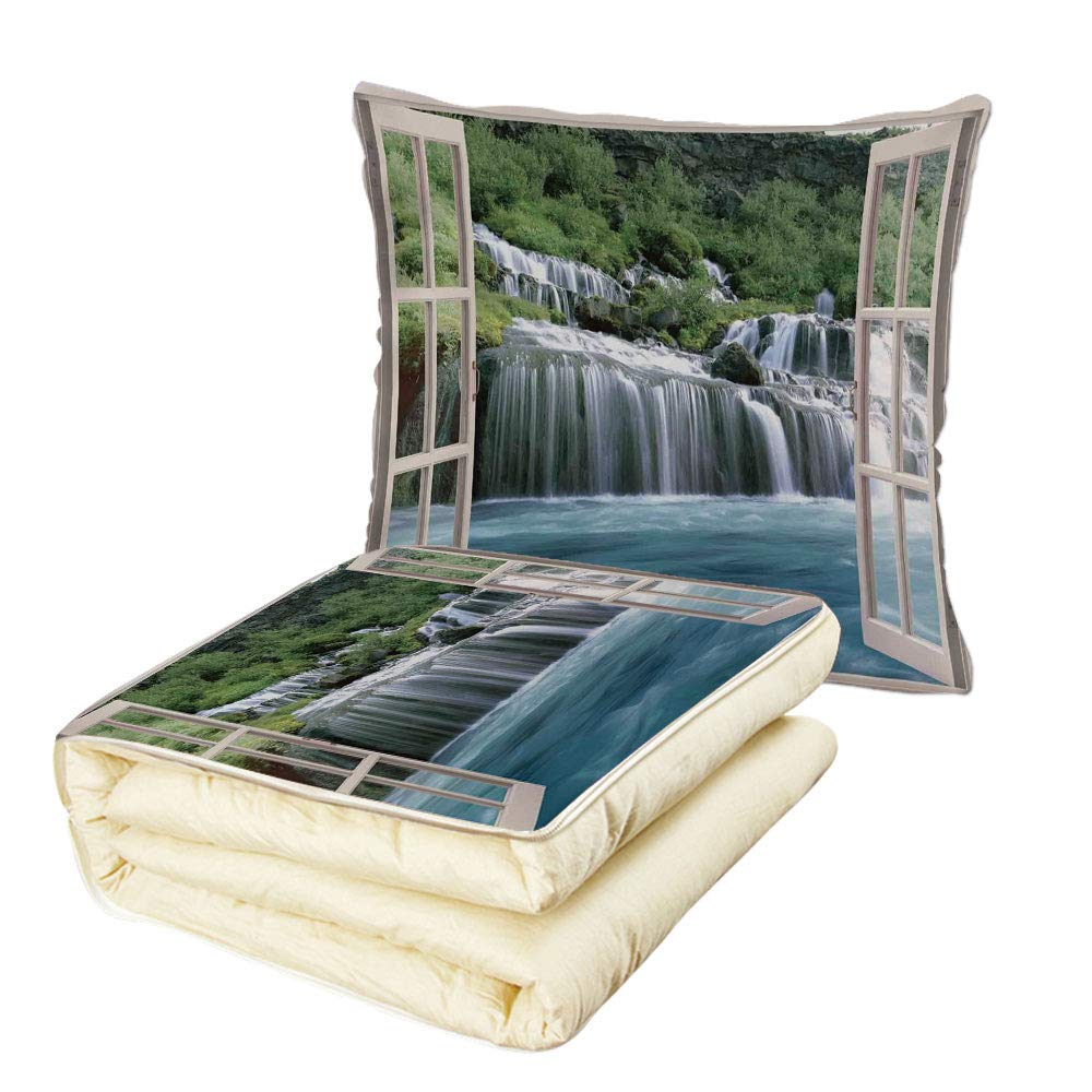 iPrint Quilt Dual-Use Pillow House Decor Majestic Waterfall Landscape Through A Window Imaginary Secret Paradise at Home Decor Multifunctional Air-Conditioning Quilt Blue Green