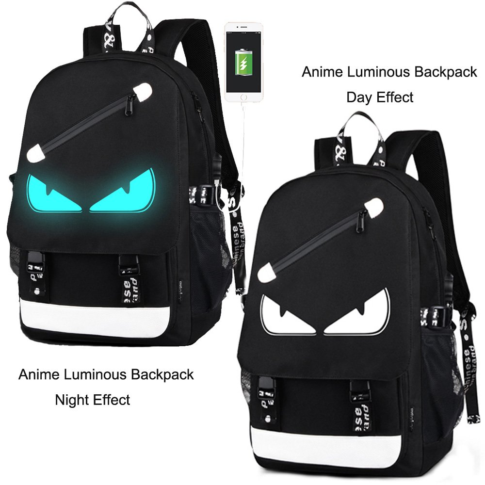 Anime Backpack Luminous Backpack Men School Bags Boys Girls Cartoon Bookbag Noctilucent USB Chargeing port&anti-theft Daybag Women (Evil eye) by VAQM (Image #2)