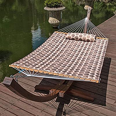 "Lazy Daze Hammocks 55"" Double Quilted Fabric Hammock Swing with Pillow, Romantic Coffee Bean - 【SUPER COMFY】The double-layered quilted polyester with inner polyester padding and a polyethylene stuffing head pillow offer superior comfort. No matter it's in summer or winter, this hammock will always be your first choice for relaxation. 【SUPER DURABILITY】Handcrafted polyester ropes add character and authenticity, and thickness of the end cords contribute greatly to the balance and strength of the hammock. Lay in the hammock with no concern ever. 【SUPER LOOK】55 inches durable Hardwood spreader bar with powder coated in an oil rubbed finish protects from rot, mold or mildew, making it more stable and stylish as well as maximizing style. Believe in us, whoever sees this hammock will envy you. - patio-furniture, patio, hammocks - 61PhYr ohNL. SS400  -"