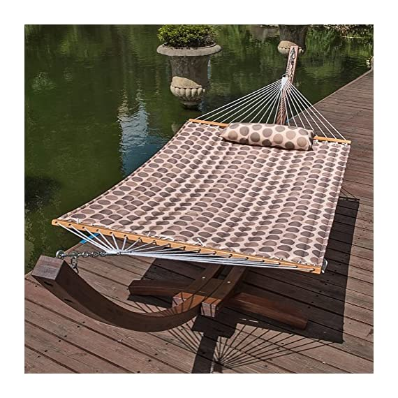 "Lazy Daze Hammocks 55"" Double Quilted Fabric Hammock Swing with Pillow, Romantic Coffee Bean - 【SUPER COMFY】The double-layered quilted polyester with inner polyester padding and a polyethylene stuffing head pillow offer superior comfort. No matter it's in summer or winter, this hammock will always be your first choice for relaxation. 【SUPER DURABILITY】Handcrafted polyester ropes add character and authenticity, and thickness of the end cords contribute greatly to the balance and strength of the hammock. Lay in the hammock with no concern ever. 【SUPER LOOK】55 inches durable Hardwood spreader bar with powder coated in an oil rubbed finish protects from rot, mold or mildew, making it more stable and stylish as well as maximizing style. Believe in us, whoever sees this hammock will envy you. - patio-furniture, patio, hammocks - 61PhYr ohNL. SS570  -"