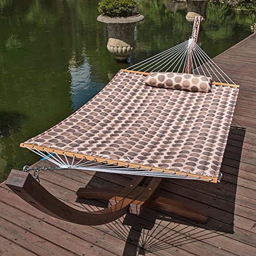 "61PhYr ohNL - Lazy Daze Hammocks 55"" Double Quilted Fabric Hammock Swing with Pillow (Romantic Coffee Bean)"