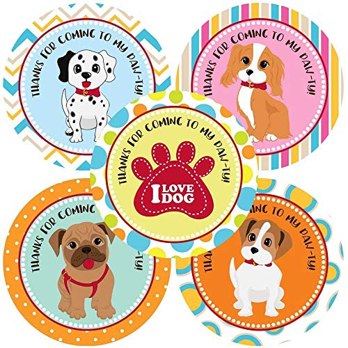 Variety Puppy Dog Thank You Sticker Labels - Canine Pet Paw Print Kids Party Favor Label - Set of 30
