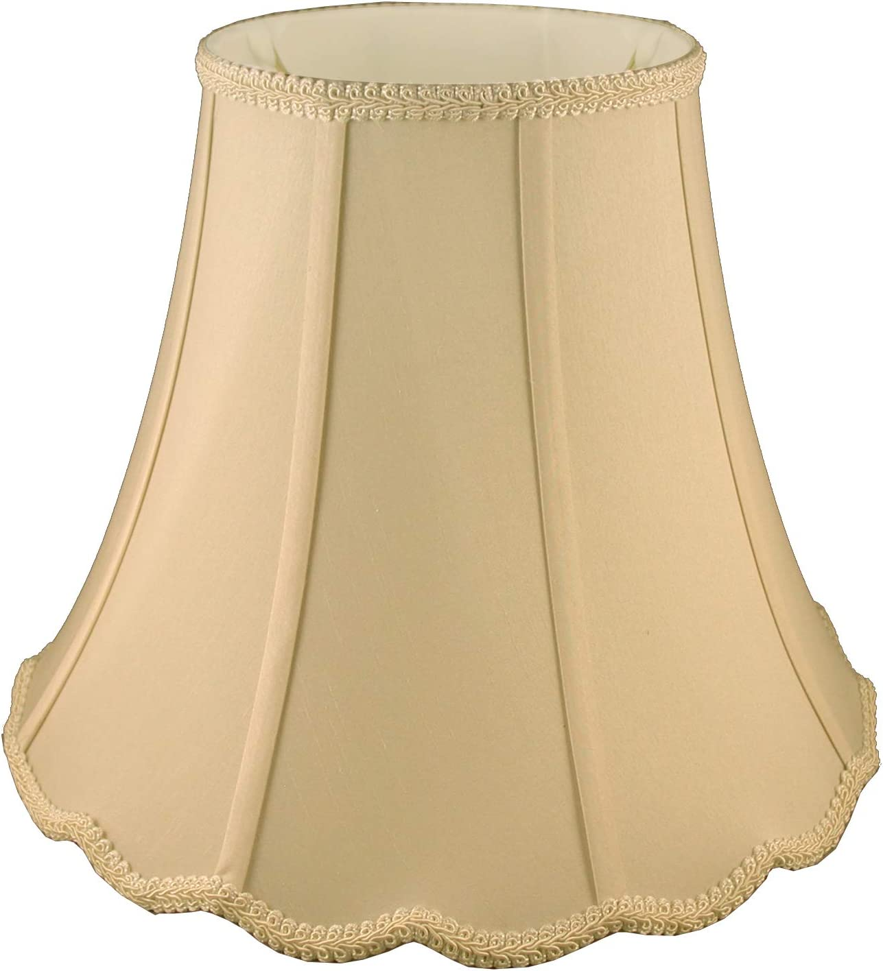 American Pride 10 x 20 x 15 Scallop Soft Shantung Tailored Lampshade, Honey