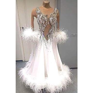 2e22fcf4ee96 (Custom Made) Feather Women Ballroom Competition Standard Smooth Tango Waltz  Gown Dance Dancing Dress