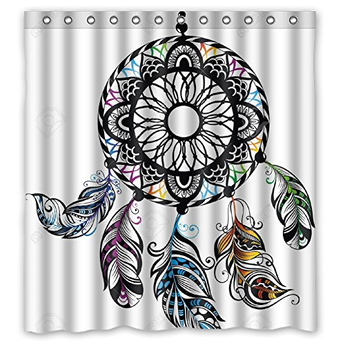 JIUDUIDDODO Coustom Wonderful Dreamcatcher Durable Antibacterial Waterproof Polyester Fabric Soft Shower Curtain Size 66