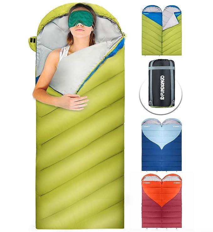 Fundango Saco de Dormir Ligero XL para Camping, Mochilero, Viaje con Saco de Compresión Cálido Saco de Dormir Confort Portátil 3-4 Temporada: Amazon.es: ...