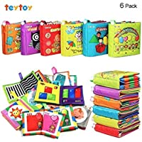 TEYTOY 6 PCS Soft First Baby Book, Nontoxic Fabric Baby Cloth Books Early Education Toys Activity Crinkle Cloth Book for Over 1 years Toddler (New Version)