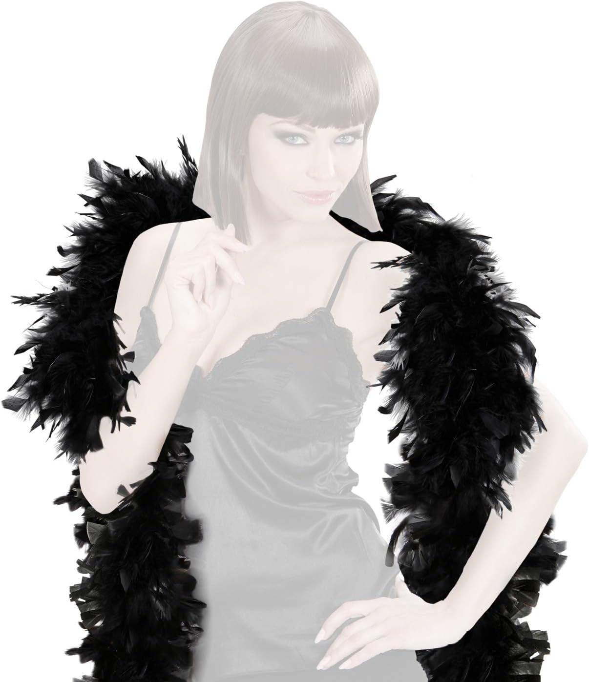 com-four® Disfraces Retro Disfraz de Mujer de los años 20 y Varias Extensiones - Look Charleston - Vestido de Lentejuelas Flecos Vintage, Boa Plumas, Collar Perlas, Pelucas (01 Pieza - Set 09)