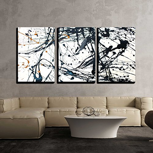 - wall26 - 3 Piece Canvas Wall Art - Abstract Art Creative Background. Hand Painted Background. - Modern Home Decor Stretched and Framed Ready to Hang - 24