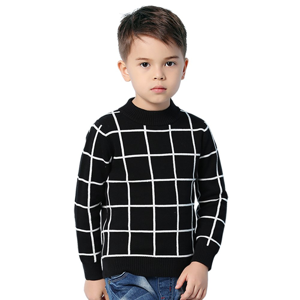 MiMiXiong Boy's Pullover Sweaters School Uniform Long Sleeve 100% Cotton Knitted Clothes(130,Black)