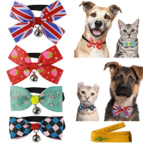 Bowknot Rabbit (Wiz BBQT Cat Dog Rabbit Pet Cloth Bowknot Bow tie Collar with Bell for Small Cats Kitten Dogs Puppy Rabbits, Pack of 4)