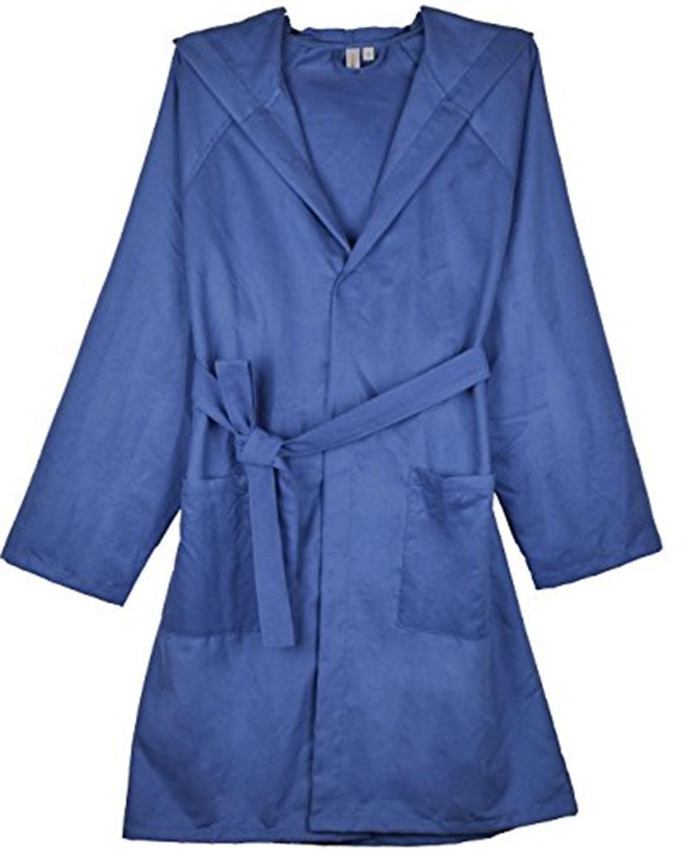 SUNLAND Chamois Microfiber Hooded Bathrobe Unisex Beach Spa Robe L Navy blue