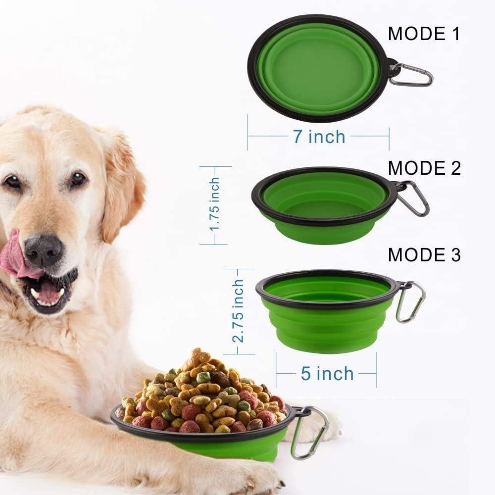 Comedero para Mascotas Bebedero Port/átil Plegable de Viaje Plato Silicona para Perros Gatos MOACC Cuenco Perro Juego de 2
