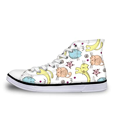f31ec1ffbd9 Instantarts Canvas Shoes Boy Girl Casual Flats High Top Lace up Cartoon Cat  Fashion Sneaker US
