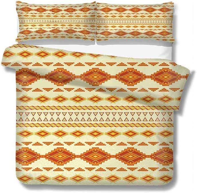 Mozenou Duvet Cover Old Aztec Pattern with Vintage Colors Mexican Indigenous Culture 100% Cotton Bedding, 1 Quilt Cover and 2 Pillowcases, Zip Closure 68x86 inch