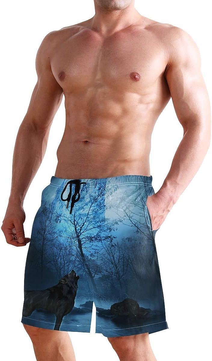 Mens Beach Swim Trunks Wolf Night Forest Pagoda Boxer Swimsuit Underwear Board Shorts with Pocket