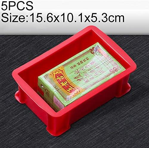 HZG 5 PCS太い多機能素材ボックス フラットプラスチック部品ボックスツールボックス、サイズ:15.6センチメートルX 10.1センチメートルX 5.3センチメートル(ブルー) 職人スペシャルパッケージ (Color : Red)