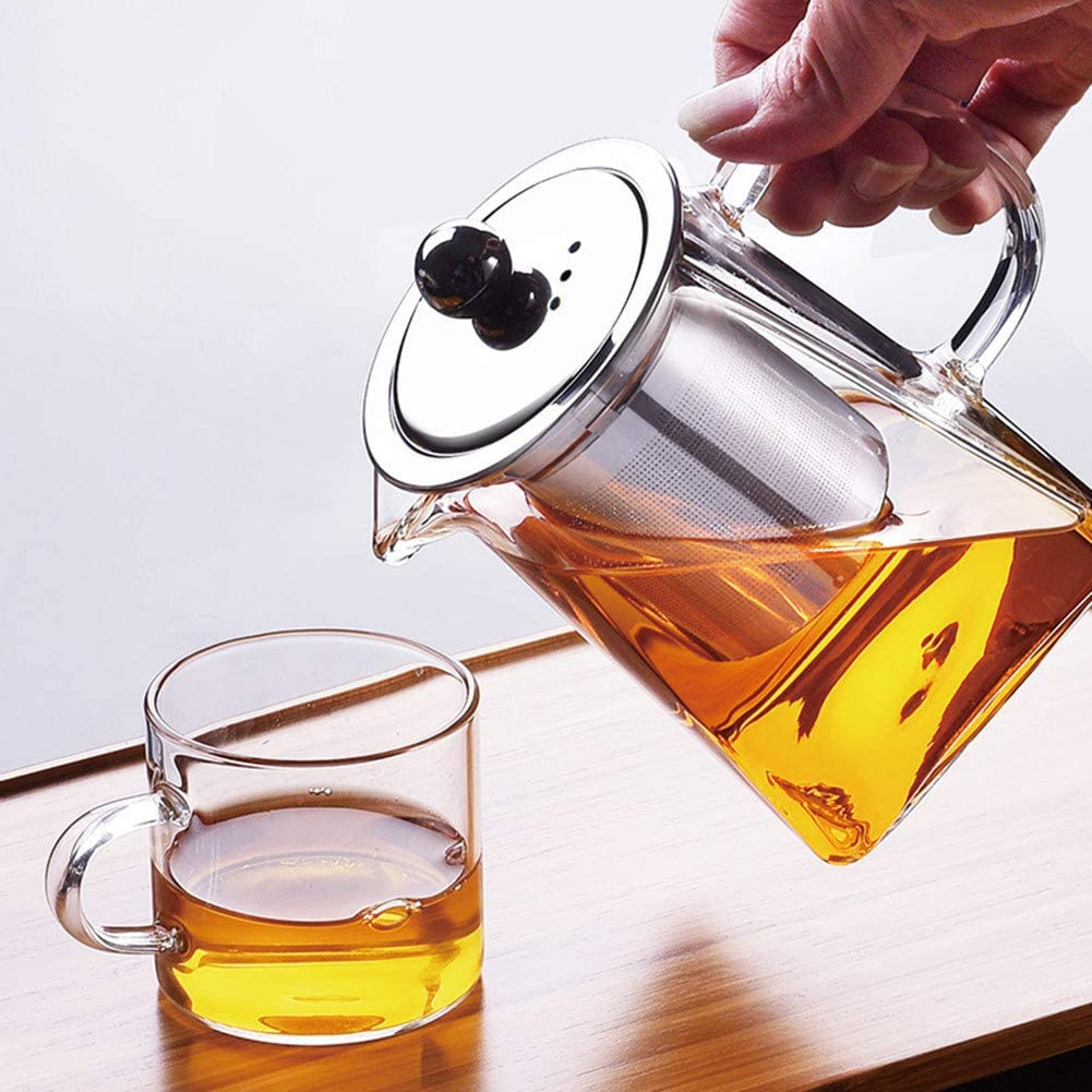 Glass Teapot with Infuser,820ML/29OZ Borosilicate Tea Kettle with Infuser for Loose Leaf Tea, Microwavable and Stovetop Safe