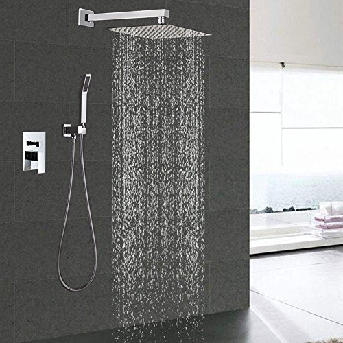 STARBATH Shower Sets with 12 Inch Rain Fall Shower Head and Handheld Set , Bathroom Luxury Shower Mixer Faucet Valve Kit, Adjustable Wall Mounted Shower Holder for Square Shower System Complete,Chrome - Chrome Showerhead Combo Set