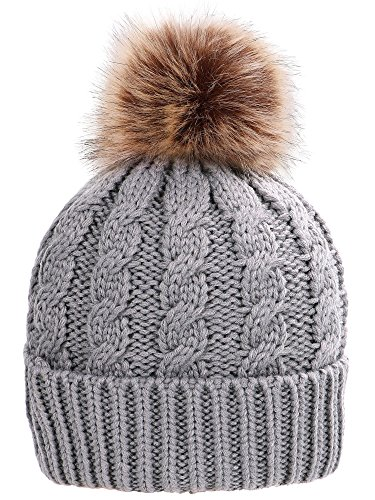 Simplicity Men/Women's Winter Handcraft Knit Faux Fur Pom Beanie Hat Grey ()