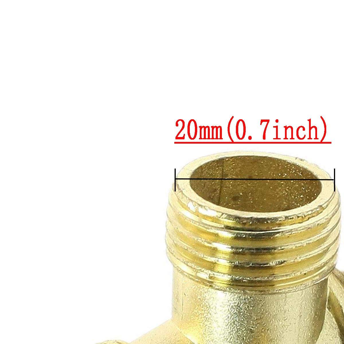 COMOK Male Thread Brass 90-Degree Left Connector Air Compressor Check Valve Spare Parts Gold Tone