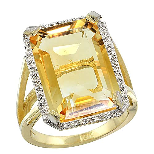 10K Yellow Gold Diamond Natural Citrine Ring Emerald-cut 18x13mm, sizes 5-10