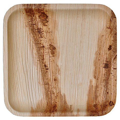 Green Atmos 100 pack 9 inch square disposable plates party wedding dinner buffet plate biodegradable compostable and eco friendly palm leaf plates