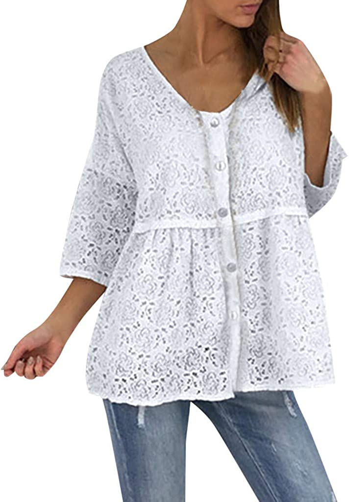 Naladoo 2019 Women Summer Tops Half Sleeve Loose Casual Lace Tunic Shirt Blouses