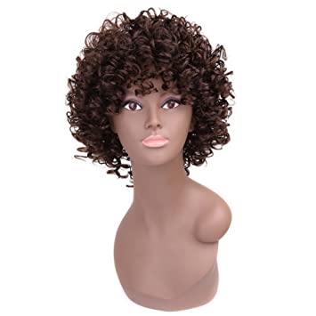 Amazon.com   Miss Rola Synthetic Hair Wigs For Women Sexy Little Curl Short  Style Natural Looking Kinky Curly Hair Wigs Heat Resistant Fiber Hair(1B )    ... 5fa2347d5a