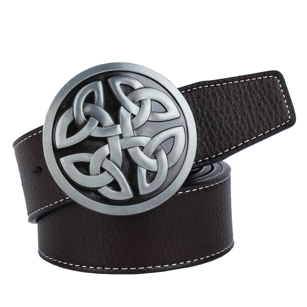 Dolity Alloy Celtic Buckle PU Leather Belts Waist Band Belts 49.21x1.5inch for Men's Casual Clothing