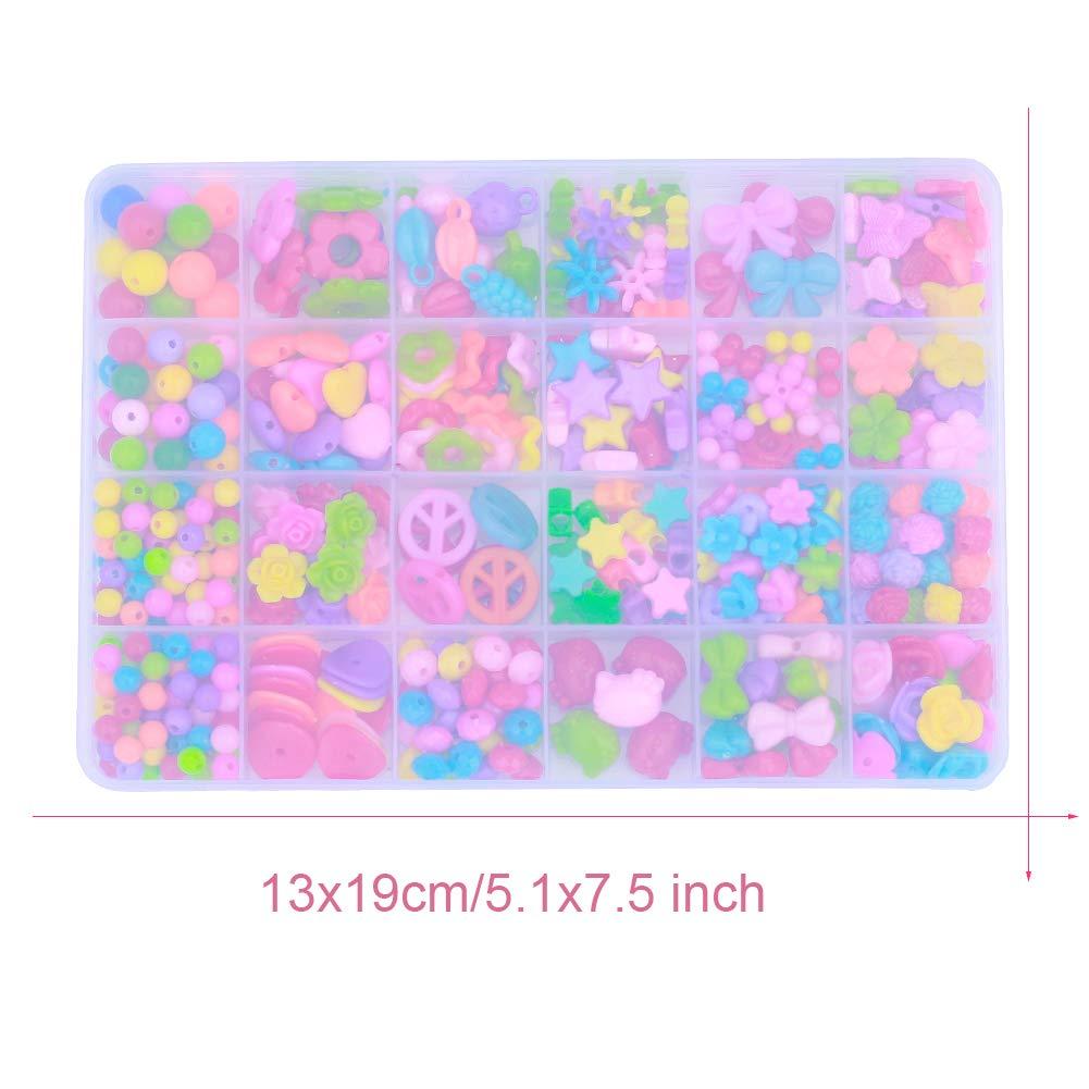 Regalo para ni/ñas de 4 a/ños en adelante Arcos 600 + piezas para ni/ños Flores Kits para hacer joyas Bricolaje Esposas Collares Perlas de juguete 22 Formas de Kitty Set de cuentas de bricolaje