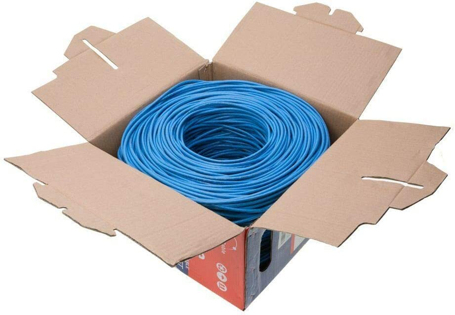 FTP Cat5e Solid Wire Bulk Ethernet Network LAN Cable RJ45 Blue 1000ft