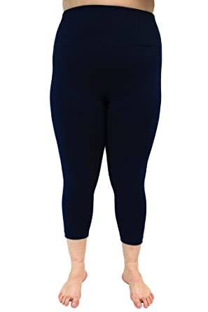 9336755fdd410 90 Degree By Reflex Plus Size High Waist Tummy Control Power Flex Yoga  Capris - Navy 3X at Amazon Women's Clothing store:
