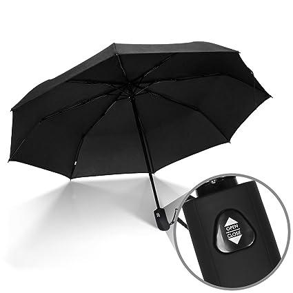 f01c60eb8383 JBM Travel Umbrella Auto Open Compact Folding Sun & Rain Protection  Windproof Portable Umbrella for Kids Women Men (Black, Red, Purple)