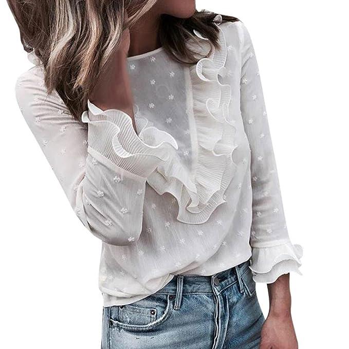 Damen Oberteile URSING Casual Sweatshirt Schöne Tupfen Drucken O-Ausschnitt  Lange Ärmel Flare Rüschen T-Shirt mit Spitze Langarmshirts Bluse  Spitzenbluse ... d5f8977d88