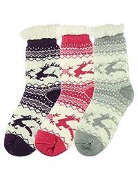 Home Slipper Women's Winter Warm Fuzzy Anti-Skid Lined Indoor Floor Slipper Socks