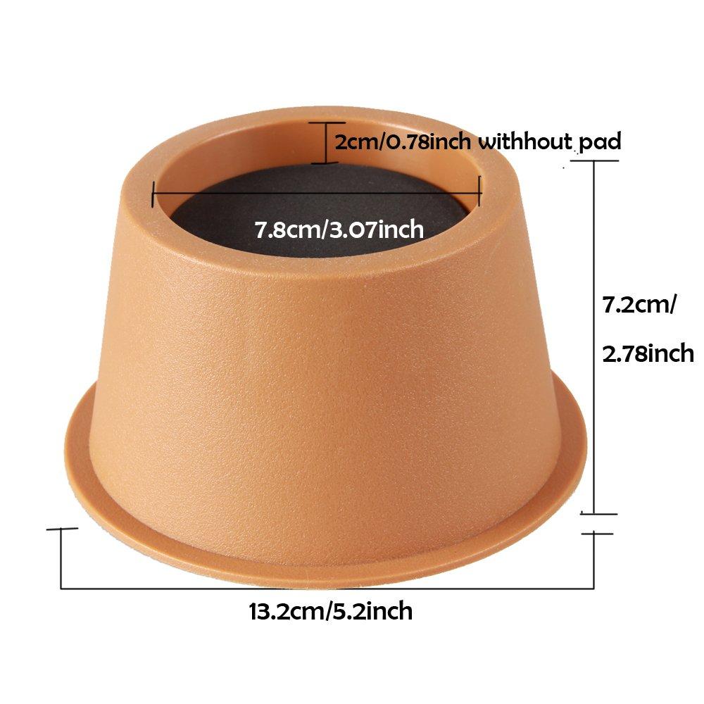 Khaki Round Circular Bed Risers Raise 2 Inch Heavy Duty Underbed Storage Furniture Riser Home Set of 4
