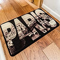 KEPSWET Simple Paris Word Design Pattern Cozy Door Mat Vintage Black White Rectangle Living Room Non-slip Area Rug Washable Child Bedroom Carpet (13x20, black)
