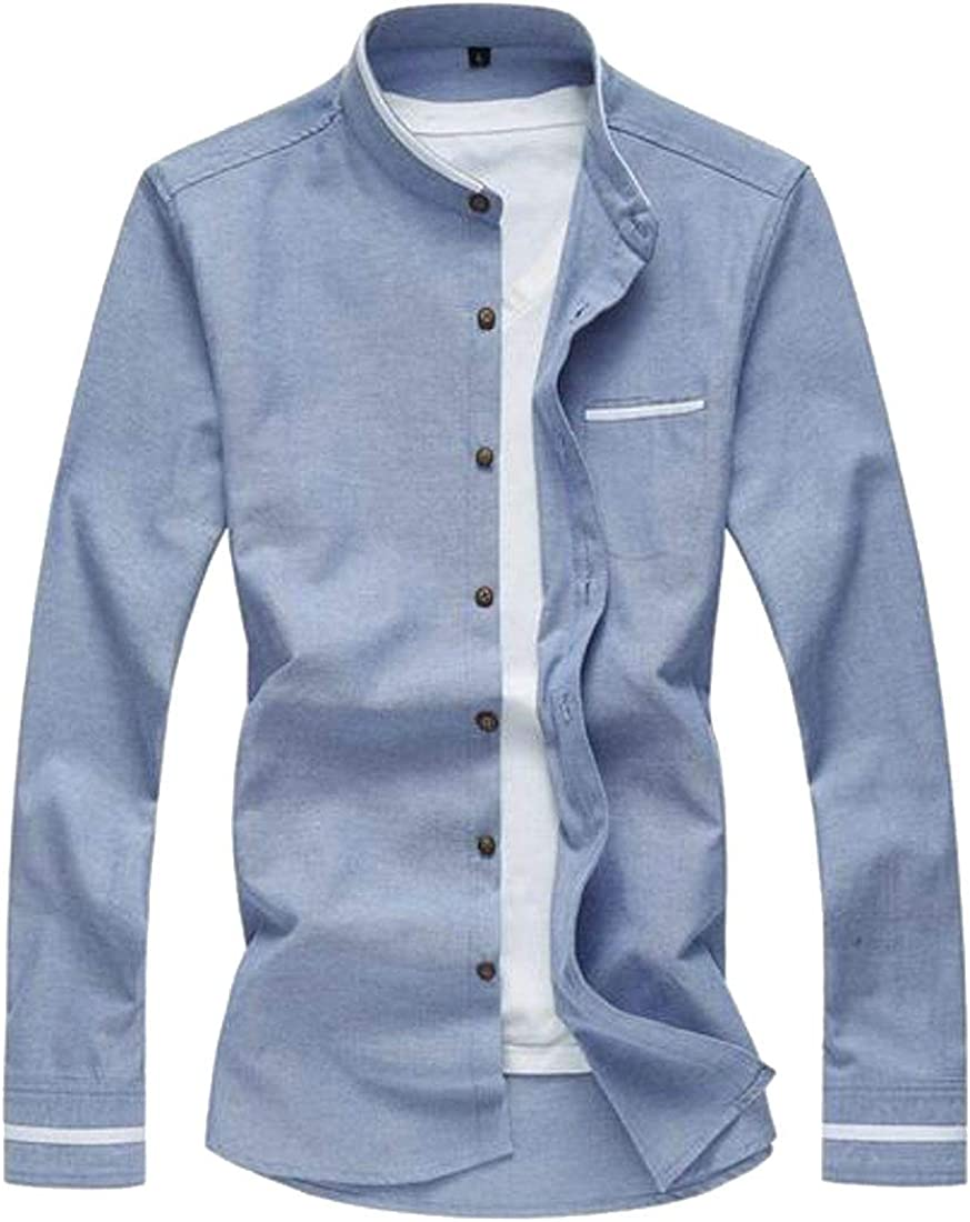 Fubotevic Men Long Sleeve Slim Solid Color Stand Collar Casual Business Dress Oxford Shirt